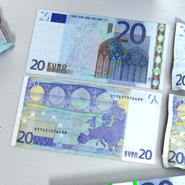 20 euro paper money 3d model 3ds max obj 129414