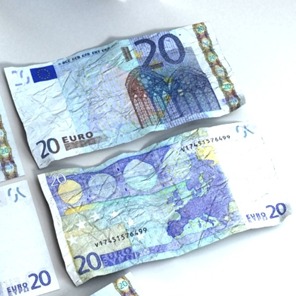 20 euro paper money 3d model 3ds max obj 129415