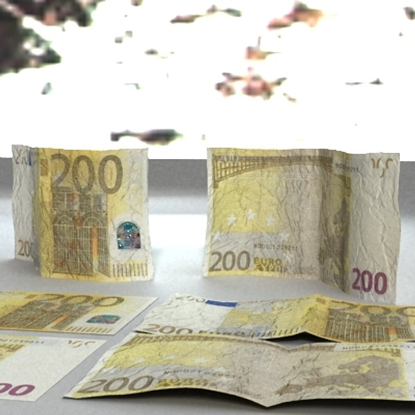 200 euro banknote 3d model 3ds max obj 129450