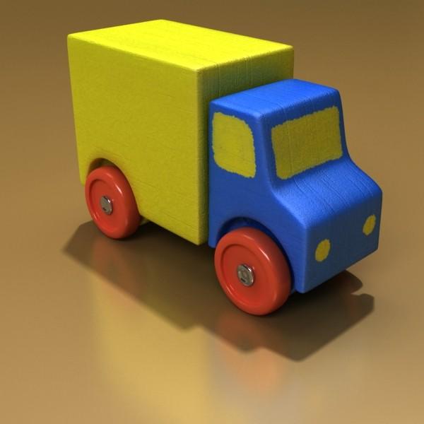 3d model of a wooden toy truck. 3d model 3ds max fbx obj 129569