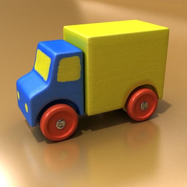 3d model of a wooden toy truck. 3d model 3ds max fbx obj 129571
