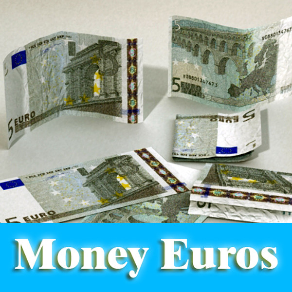 5 euro paper money 3d model 3ds max obj 129378