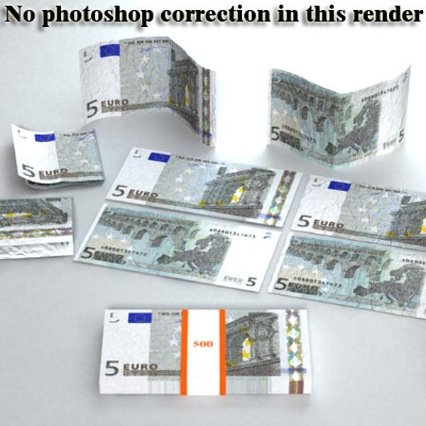 5 евро цаасан мөнгө 3d загвар 3ds max obj 129383