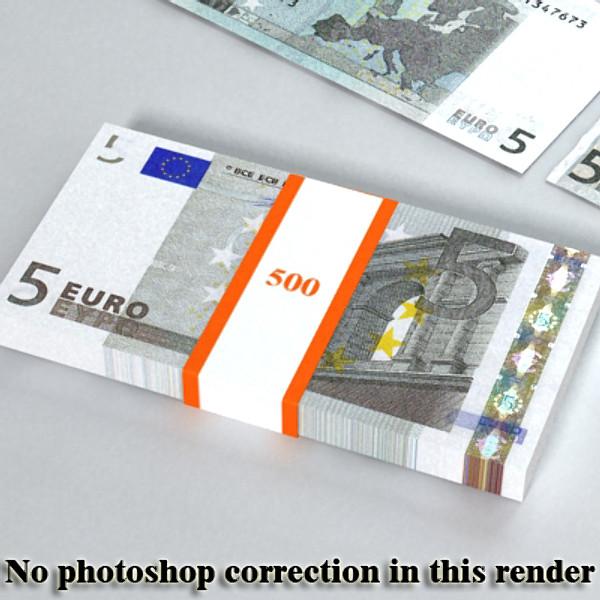 5 евро цаасан мөнгө 3d загвар 3ds max obj 129384