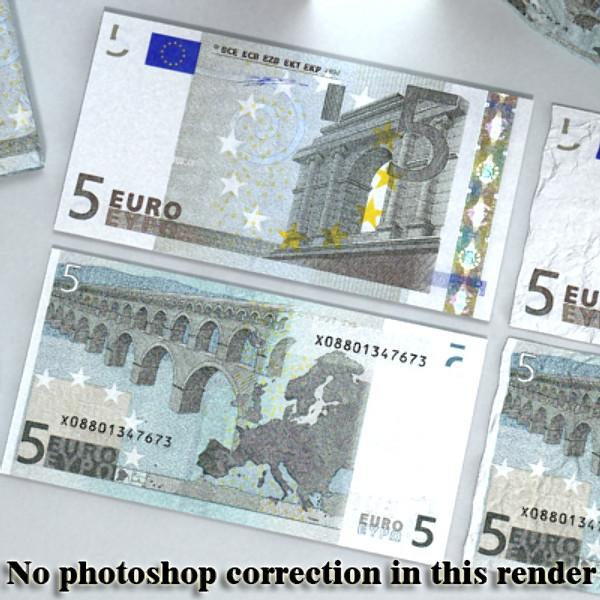 5 евро цаасан мөнгө 3d загвар 3ds max obj 129385