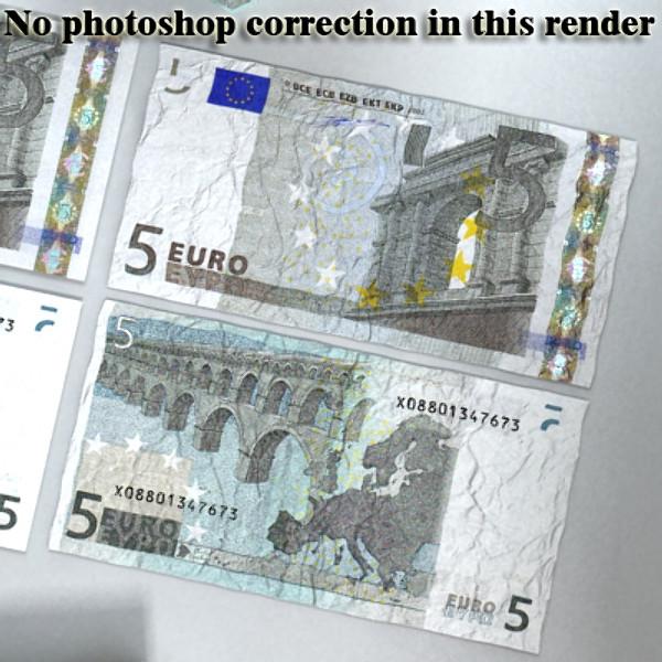 5 евро цаасан мөнгө 3d загвар 3ds max obj 129386