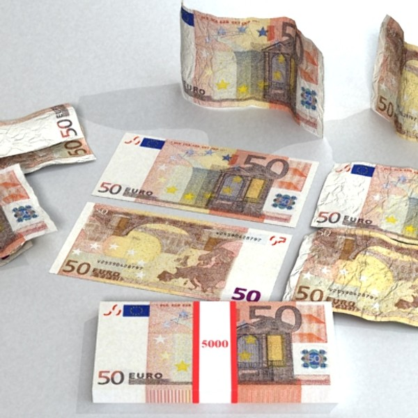 50 euro paper money 3d model 3ds max obj 129423