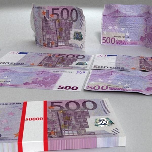 500 euros banknote 3d model 3ds max obj 129474