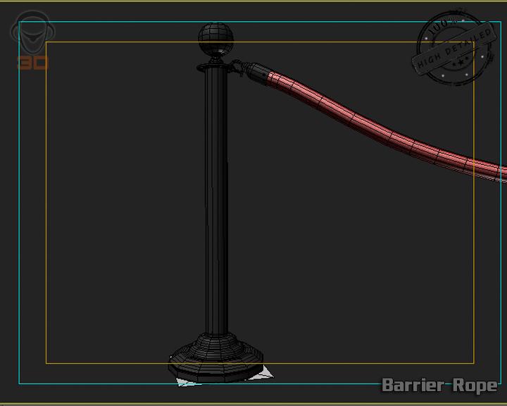 barrier rope 3d model 3ds max fbx obj 129092