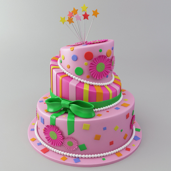 celebration cake 3d model 3ds max fbx obj 147552
