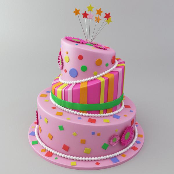 Cool Celebration Cake 3D Model Flatpyramid Funny Birthday Cards Online Hendilapandamsfinfo