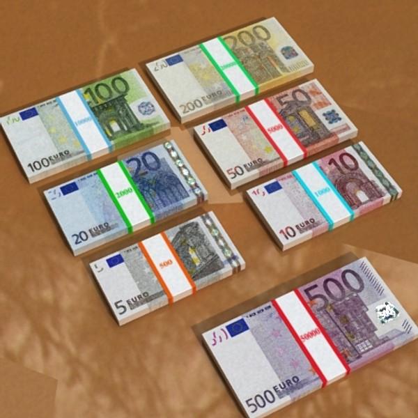 european paper money collection 3d model 3ds max obj 129486