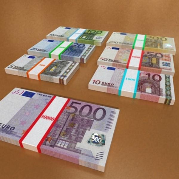 european paper money collection 3d model 3ds max obj 129487