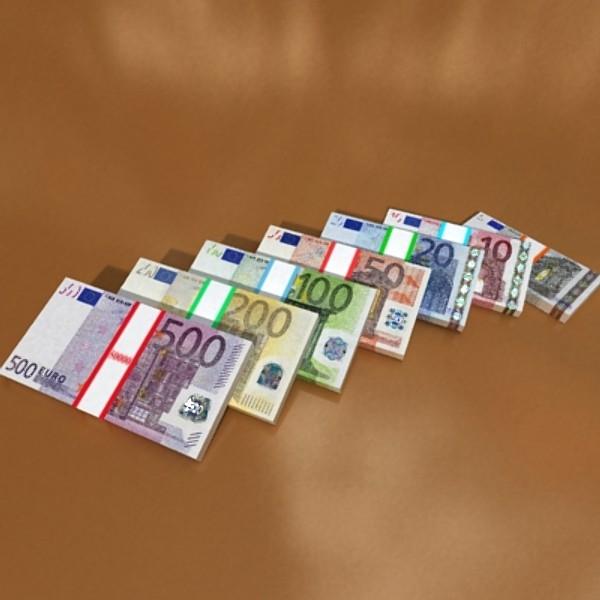 european paper money collection 3d model 3ds max obj 129489