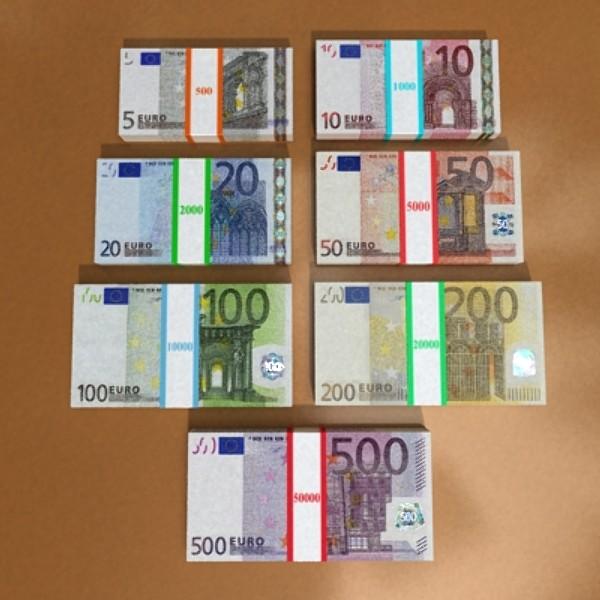 european paper money collection 3d model 3ds max obj 129490