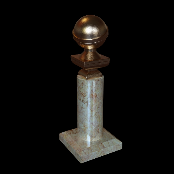 golden globe award trophy 3d model 3ds max fbx texture obj 120919