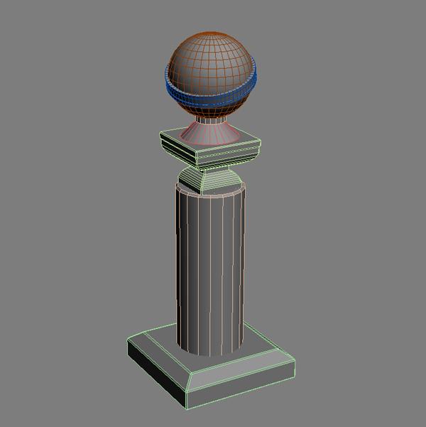 golden globe award trophy 3d model 3ds max fbx texture obj 120920