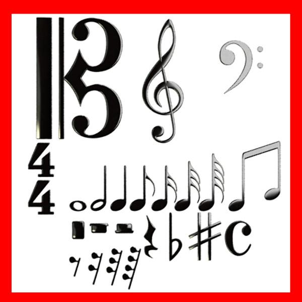 hudební symboly 3d model 3ds max fbx obj 129908
