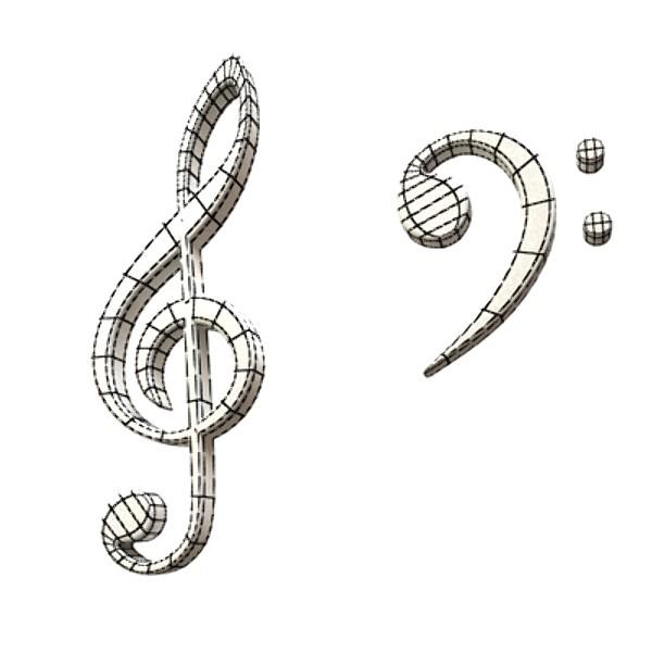 musical symbols 3d model 3ds max fbx obj 129924