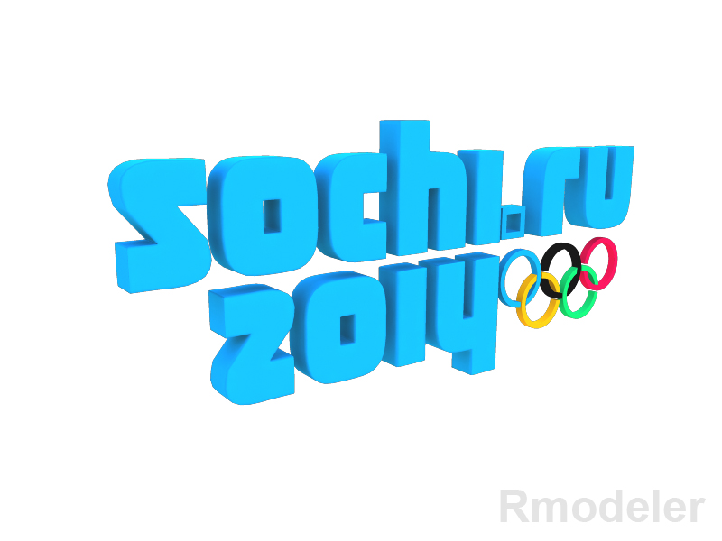 olympic games sochi 2014 3d logo 3d model dae ma mb obj 118829