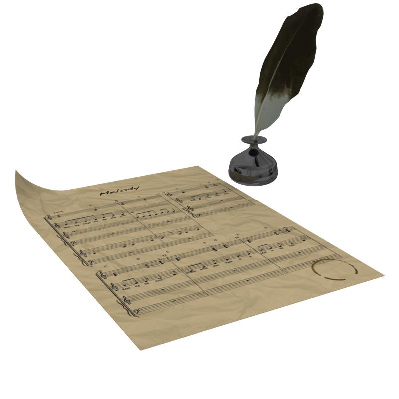 quill, paper, ink 3d model obj 160398