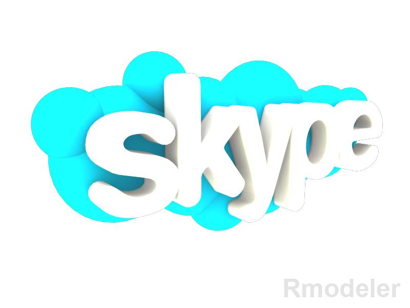 skype 3d logo 3d modelis dae ma mb obj 118824
