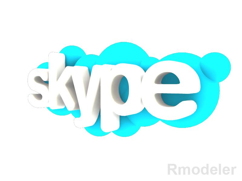 skype 3d logo 3d model dae ma mb obj 118825