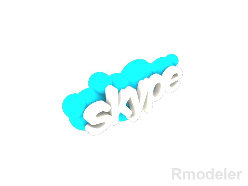 skype 3d logo 3d model dae ma mb obj 118826