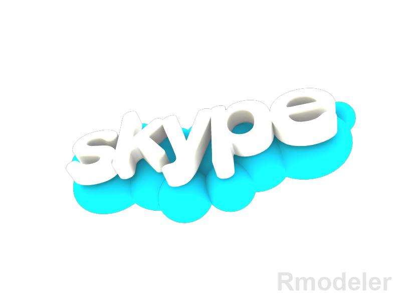 skype 3d logo 3d model dae ma mb obj 118827