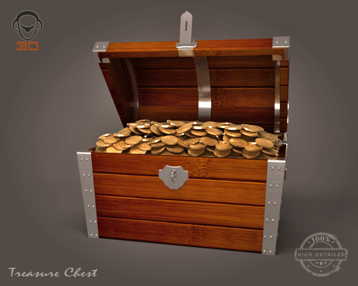 treasure chest 3d model 3ds max fbx obj 143460