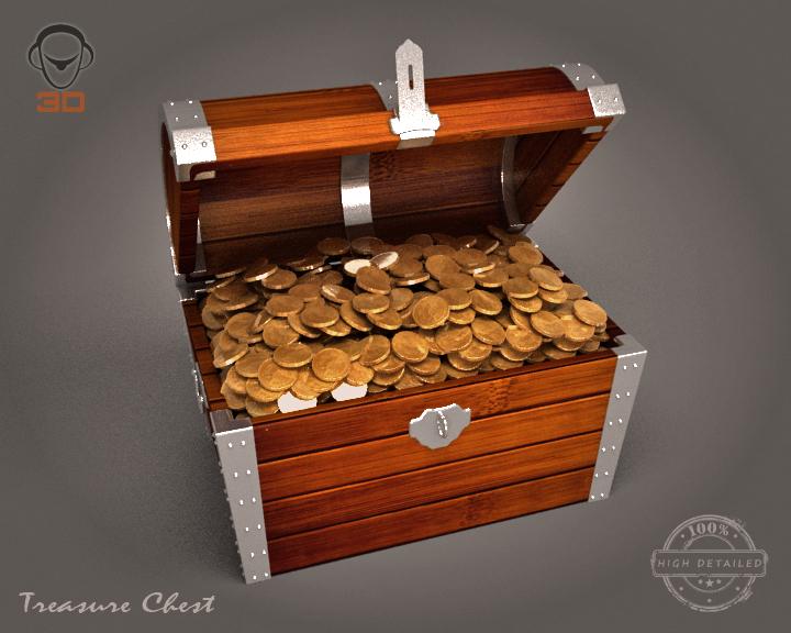 treasure chest 3d model 3ds max fbx obj 143461