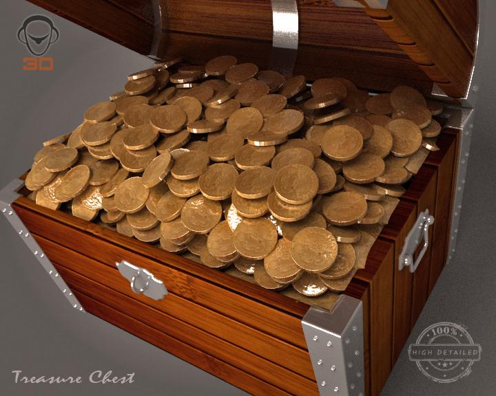 treasure chest 3d model 3ds max fbx obj 143462