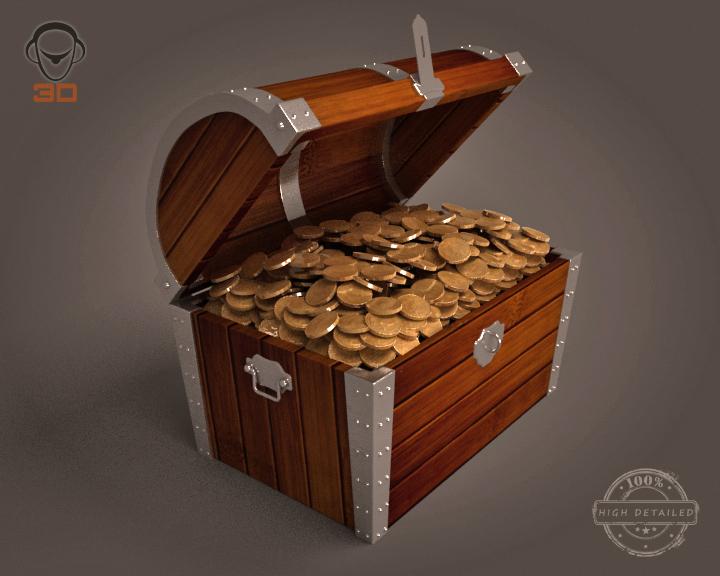 treasure chest 3d model 3ds max fbx obj 143463