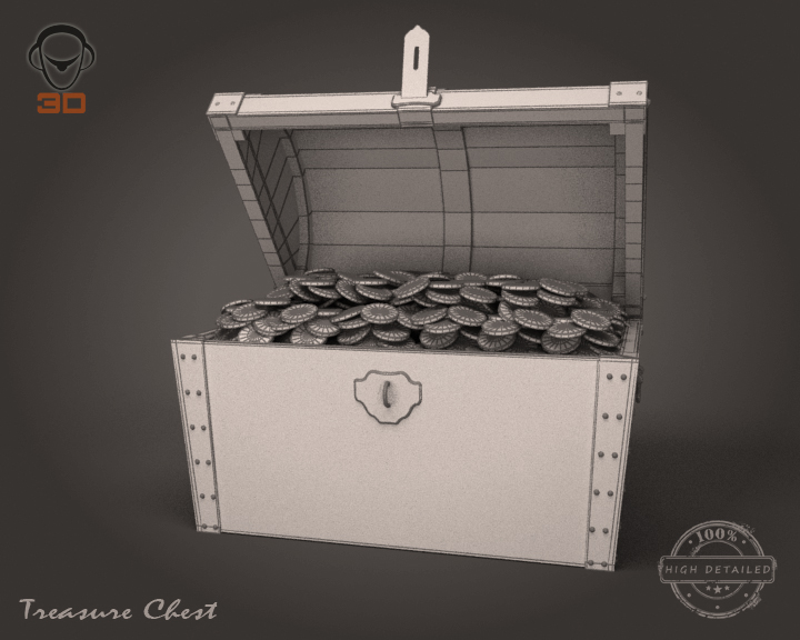 treasure chest 3d model 3ds max fbx obj 143469