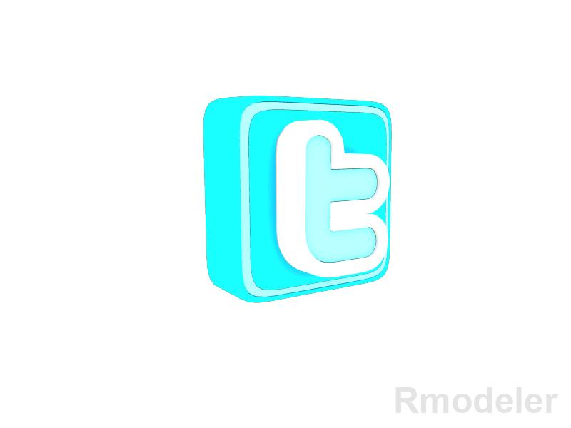 twitter letter 3d logo 3d model dae ma mb obj 118834