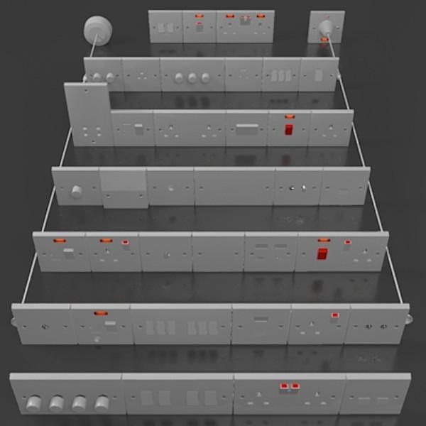 uk electrical switches & sockets pack – plastic 3d model 3ds fbx skp obj 115691