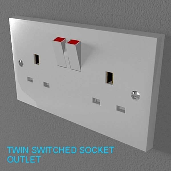 UK electrical switches & sockets pack - plastic 3D Model – Buy UK ...