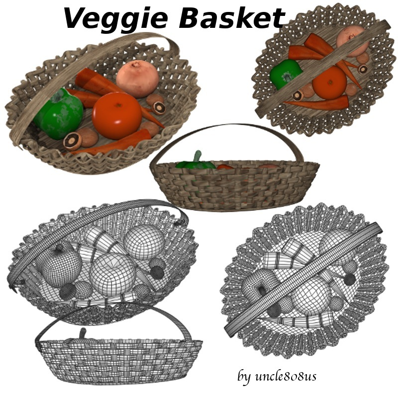 veggie basket 3d model obj 151823