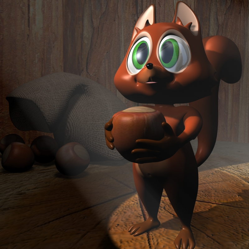 cartoon squirrel character rigged 3d model 3ds max fbx lwo obj 119734