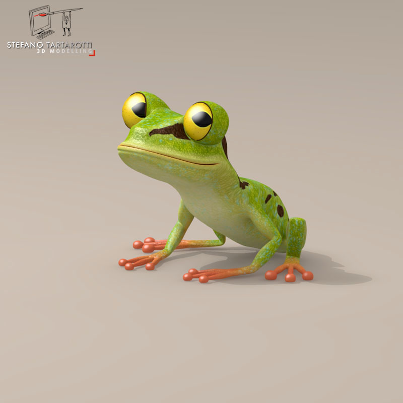 frog cartoon character 3d model 3ds dxf fbx c4d obj 145874