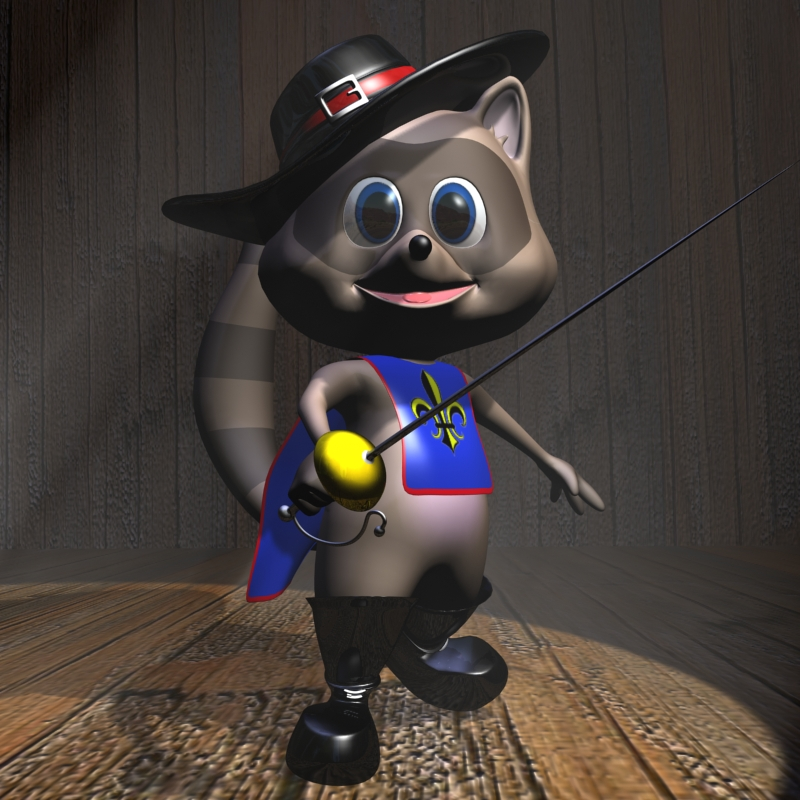 racoon musketeer cartoon character rigged 3d model 3ds max fbx lwo obj 119647