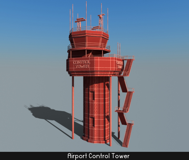 airport control tower 5 3d model 3ds max fbx obj 116800