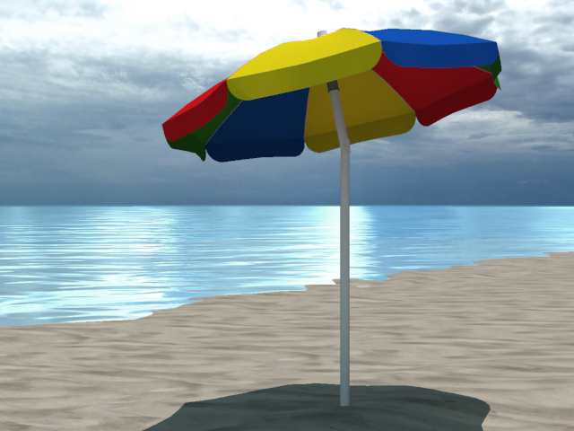 4 beach umbrellas and beach environment 3d model 3ds max fbx c4d obj 116061