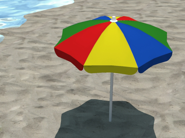 4 beach umbrellas and beach environment 3d model 3ds max fbx c4d obj 116062