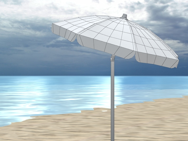 4 beach umbrellas and beach environment 3d model 3ds max fbx c4d obj 116068
