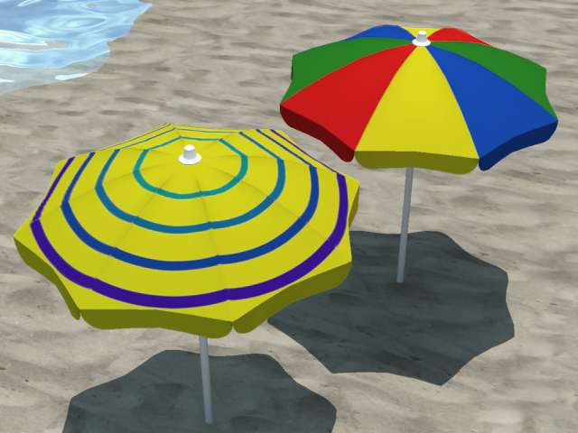 4 beach umbrellas and beach environment 3d model 3ds max fbx c4d obj 116069