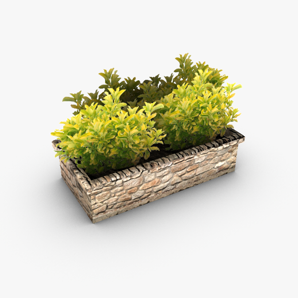 low poly outdoor planter bed 3d model 3ds max fbx c4d obj 139417
