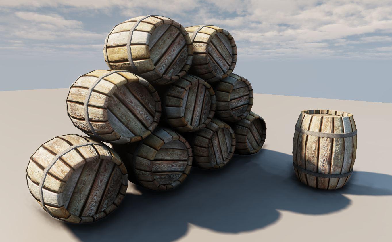 wooden barrel 3d model fbx 151048