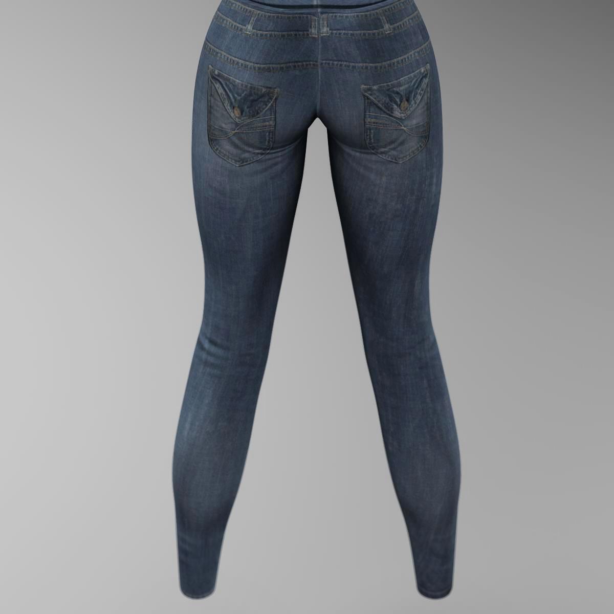 female jeans 3d model 3ds max fbx c4d ma mb obj 160404