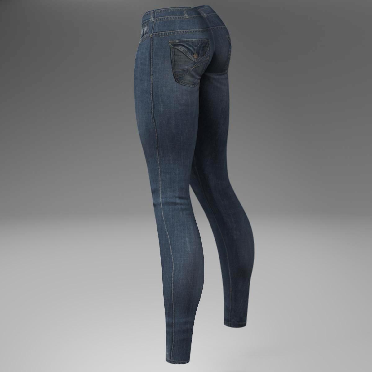female jeans 3d model 3ds max fbx c4d ma mb obj 160405